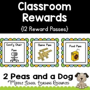 Classroom Management Reward Passes/Coupons