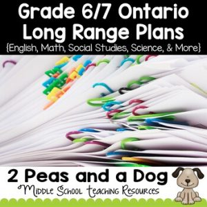 Grade 6 and Grade 7 Long Range Plans Ontario Curriculum
