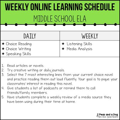 Online learning can be stressful. Use these ideas to make online learning for English Language Arts work for teachers and students. Try these online learning ideas for kids. Middle school online learning can work - don't get discouraged and try these ideas and lessons from 2 Peas and a Dog.